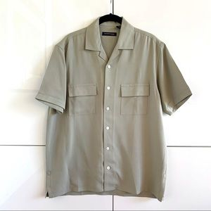 Men's Kenneth Cole Taupe Silk SS Button Down Shirt